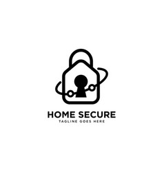 Home secure logo simple line logo template vector