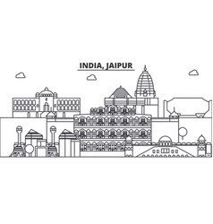 India jaipur architecture line skyline vector