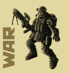 infantryman in armor suit vector image
