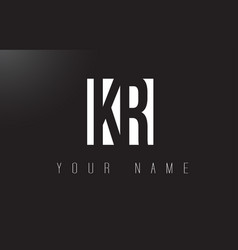 Kr letter logo with black and white negative vector