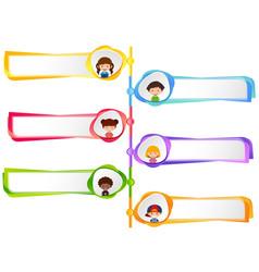 Label designs with happy kids vector