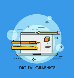 laptop pen pencil and ruler concept of graphic vector image