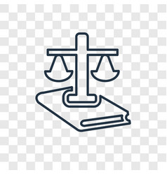 law concept linear icon isolated on transparent vector image
