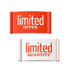 Limited offer and quantity clothing labels vector