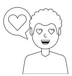lovely young man with heart avatar character vector image