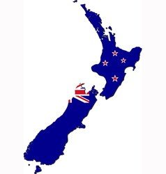 Map of New Zealand with national flag vector image