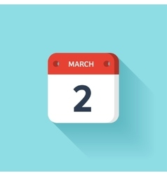 March 2 Isometric Calendar Icon With Shadow vector image