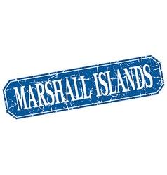 Marshall Islands blue square grunge retro style vector