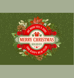 merry christmas and happy new year greeting design vector image