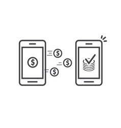 money transfer via mobile phones icon line vector image