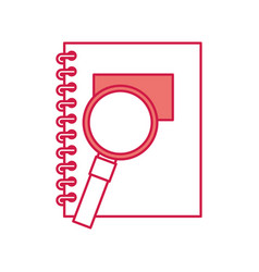 notebook school with magnifying glass vector image