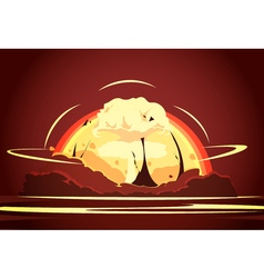 nuclear bomb explosion retro cartoon poster vector image