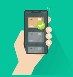 Parcel tracking or delivered via smartphone vector