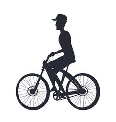 person riding bike monochrome silhouette side vew vector image