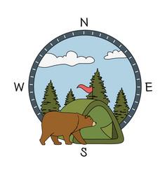 Pines trees forest scene with bear grizzly vector