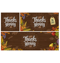 poster with happy thanksgiving day calligraphy vector image