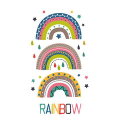 poster with three colorful rainbows vector image