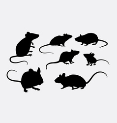 Rat and mice silhouettes vector image