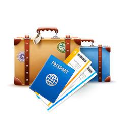 retro suitcases passport vector image