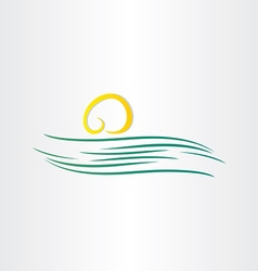 river and sun symbol vector image