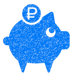 Rouble piggy bank grunge icon vector