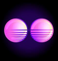 round sun glasses over retro vector image