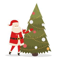 santa claus near new year tree fir tree decorated vector image
