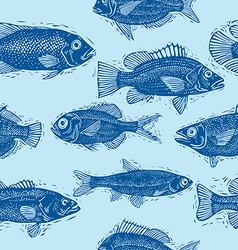 seamless sea pattern different fish silhouettes vector image