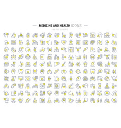 Set flat line icons medecine and health vector