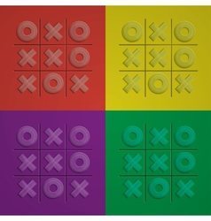 Set Glass Tic Tac Toe vector image