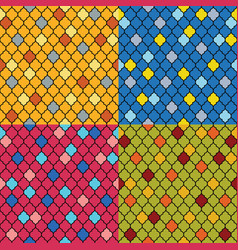 Set of colorful moroccan seamless patterns vector