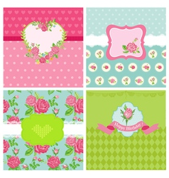 Set of Floral Card - Floral Shabby Chic Theme vector image