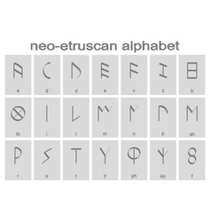 set of monochrome icons with etruscan alphabet vector image