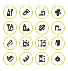 Set round icons of hygiene vector