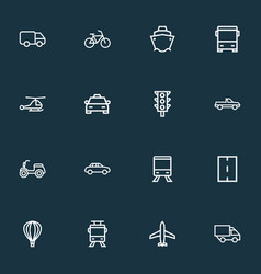 shipment icons line style set with scooter way vector image