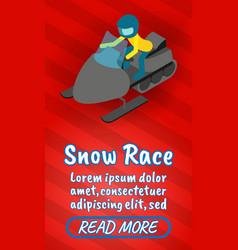 Snow race concept banner comics isometric style vector