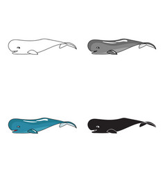 Sperm whale icon in cartoon style isolated on vector
