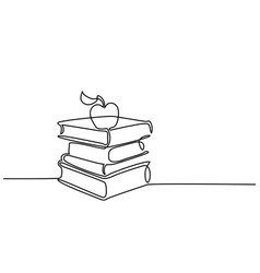 Stack of books with apple vector