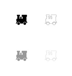 steam locomotive - train black and grey set icon vector image