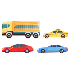 transport in city car and lorry delivery taxi vector image