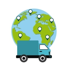 truck and planet icon Delivery and Shipping vector image