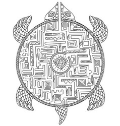 turtle maze game animal puzzle labyrinth path vector image