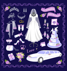 wedding cartoon style icons vector image