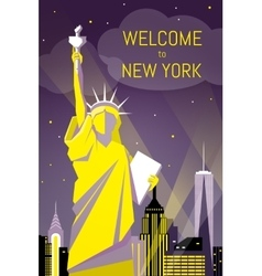 Welcome to New York poster flat night design vector image