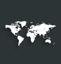 white world map on dark color background vector image