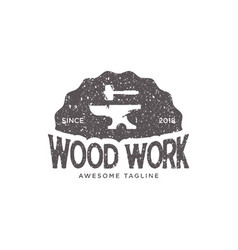 Wood work vintage retro logo design inspiration vector