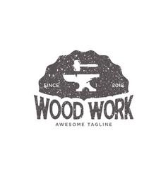 wood work vintage retro logo design inspiration vector image