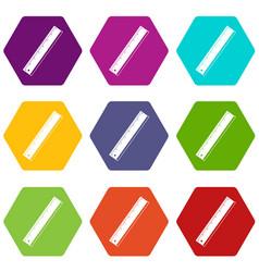 Yardstick icon set color hexahedron vector