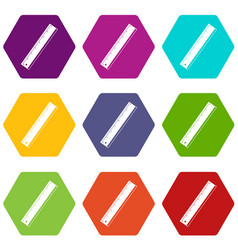 yardstick icon set color hexahedron vector image