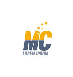 Yellow blue mc m c alphabet letter logo company vector